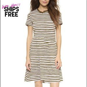 Marc Jacobs Olive Green Striped Cotton Dress #0373